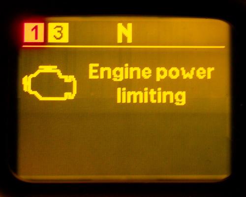 сообщение об ограничении мощности двигателя
